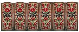 Six-Fold Walnut Screen with Embroidered Needlework Panels